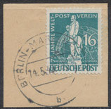 BERL 36 gestempelt auf Briefstück
