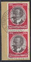 DR 542 gestempelt senkrechtes Paar auf Briefstück