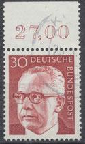 638 gestempelt mit Bogenrand oben (RWZ 27,00)  (BRD)
