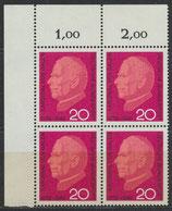 BRD 505 postfrisch Viererblock mit Eckrand links oben