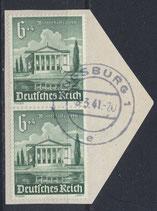 DR 754 gestempelt senkrechtes Paar auf Briefstück