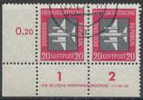 DDR 610  philat. Stempel waagrechtes Paar mit Eckrand links unten