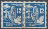 DDR 278 gestempelt waagrechtes Paar