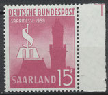 SAAR 435 postfrisch mit Bogenrand rechts