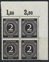 912 postfrisch Viererblock mit Eckrand rechts oben (ABGA)
