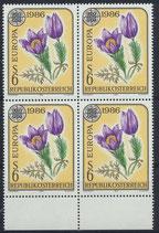 1848 postfrisch Viererblock mit Bogenrand unten