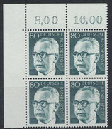 BRD 642 postfrisch Viererblock mit Eckrand links oben