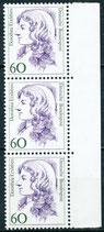 1332 postfrisch senkrechter Dreierstreifen mit Bogenrand rechts (BRD)