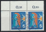 BRD 629 gestempelt waagrechtes Paar mit Eckrand links oben