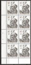 BERL 390 postfrisch Achterblock mit Eckrand links unten