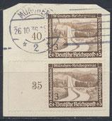DR 634 gestempelt senkrechtes Paar mit Bogenrand links auf Briefstück