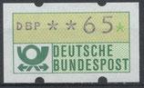 65 (Pf) Automatenmarke 1 postfrisch (BRD-ATM)