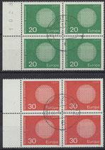 BRD 620-621 gestempelt Viererblocksatz mit Bogenrand links