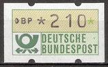 210 (Pf) Automatenmarke 1 postfrisch mit Zählnummer (BER-ATM)