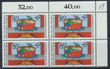 BRD 1179 postfrisch Viererblock mit Eckrand rechts oben