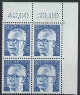 BRD 640 postfrisch Viererblock mit Eckrand rechts oben