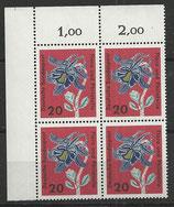 BRD 394 postfrisch Viererblock mit Eckrand links oben