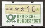 10 (Pf) Automatenmarke 1 postfrisch (BRD-ATM)