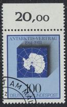 BRD 1117 gestempelt mit Bogenrand oben (RWZ 20,00)