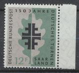 SAAR 437 postfrisch mit Bogenrand rechts
