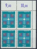 BRD 648 postfrisch Viererblock mit Eckrand rechts oben