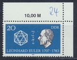 DDR 2825 postfrisch mit Eckrand rechts oben