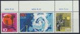 DDR 1343-1345 postfrisch Dreierstreifen mit Eckrand rechts oben