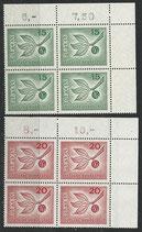 BRD 483-484 postfrisch Viererblock mit Eckrand rechts oben