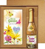 Bin im Garten Beste Gärtnerin für Frauen Piccolo Sekt 22 Karat Blattgold Goldflocken Gold 0,2 l, 10% vol. mit Hochglanz- Etikett im Geschenke Set