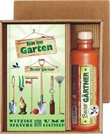 Bin im Garten Bester Gärtner mit original Harzer Kräuterlikör im Geschenke Set