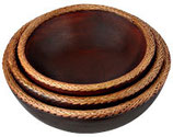 Home Accent - Wood Bowl - Three Piece Set