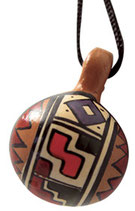 Clay Bell Pendent on Rope