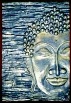 Buddha 2/3, in blau, gold und grau