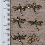 AB-06 Anhänger Libelle bronzefarben, 5 Stück