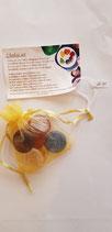 Gepolijste ronde chakra edelstenen set in organza zakje