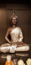 Thaise Boeddha zwart/zilver meditatiehouding