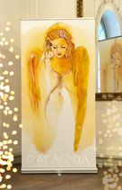 "LICHTKRAFT~ENGEL ""Kunst-RollUp"" ( 100 x 200 cm) mit silberfarbenem Komplett-System!)"