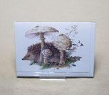 Herbstkarte Igel in den Pilzen Nr. 13593