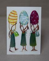 Osterkarte 3 Hasen & 3 Eier