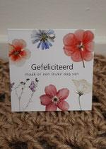 Gefeliciteerd bloemkaartje