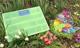 Grüner Organizer mit Pastellfarben / Nid de pâques en pastel