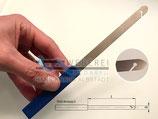 Blattstecher, Riedhaken mit blauen Kunstoffgriff für Weberei / 115mm x 10mm x  0,4mm