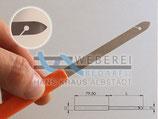 Blattstecher, Ried-Haken 80mm mit Kunstoffgriff / Weberei 80mm x 6,5mm 0,2mm