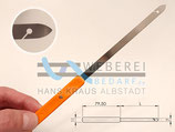 Blattstecher, Ried-Haken 110mm x 6,5mm 0,2mm Edelstahl Mit Kunststoffgriff / Weberei