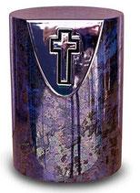 Keramik Urne mit Kreuz Kameleon Urne