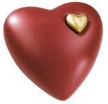 Herz Keramikurne mit kleinem Herz goldfarbig