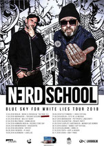 "NERD SCHOOL ""Blue sky for white lies""  TOUR Plakat 2018"