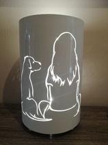 """Windlicht """"Hund und Frau"""""""