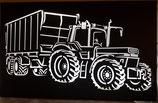 Wandbild Trecker 3 mit Ladewagen