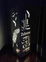 """Säule/Beistelltisch/Lampe Motiv """"Werte/Feder"""""""